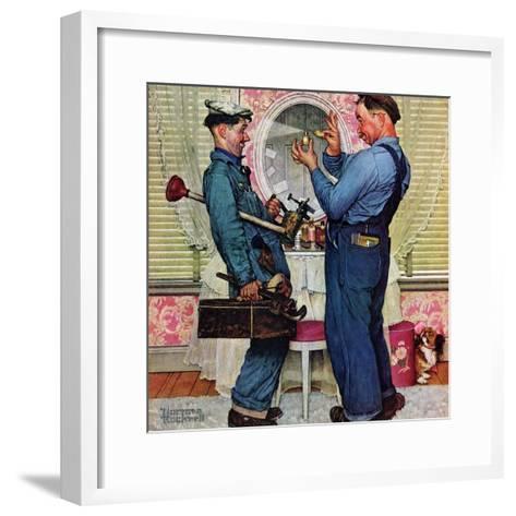 """""""Plumbers"""", June 2,1951-Norman Rockwell-Framed Art Print"""