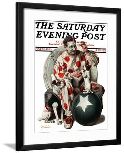 """""""Between the Acts"""" Saturday Evening Post Cover, May 26,1923-Norman Rockwell-Framed Art Print"""