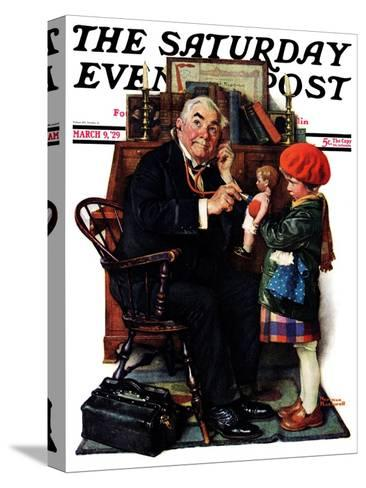 """""""Doctor and the Doll"""" Saturday Evening Post Cover, March 9,1929-Norman Rockwell-Stretched Canvas Print"""
