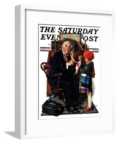 """""""Doctor and the Doll"""" Saturday Evening Post Cover, March 9,1929-Norman Rockwell-Framed Art Print"""