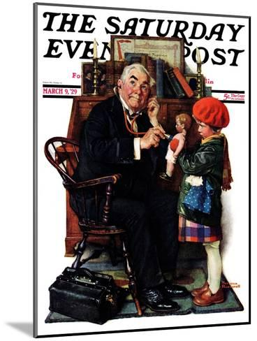 """""""Doctor and the Doll"""" Saturday Evening Post Cover, March 9,1929-Norman Rockwell-Mounted Giclee Print"""