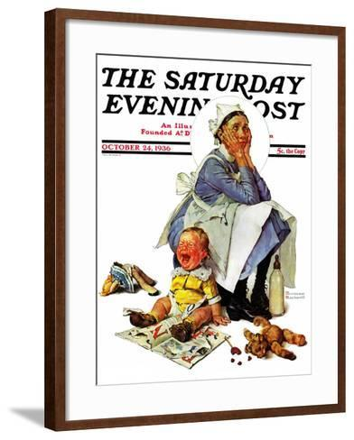 """Exasperated Nanny"" Saturday Evening Post Cover, October 24,1936-Norman Rockwell-Framed Art Print"