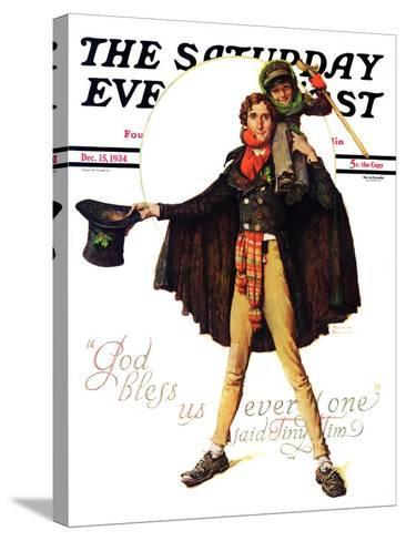 """Tiny Tim"" or ""God Bless Us Everyone"" Saturday Evening Post Cover, December 15,1934-Norman Rockwell-Stretched Canvas Print"