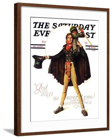 """""""Tiny Tim"""" or """"God Bless Us Everyone"""" Saturday Evening Post Cover, December 15,1934-Norman Rockwell-Framed Art Print"""