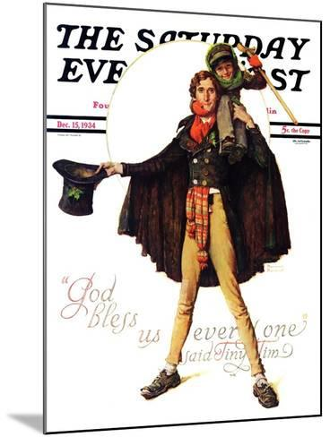 """Tiny Tim"" or ""God Bless Us Everyone"" Saturday Evening Post Cover, December 15,1934-Norman Rockwell-Mounted Giclee Print"