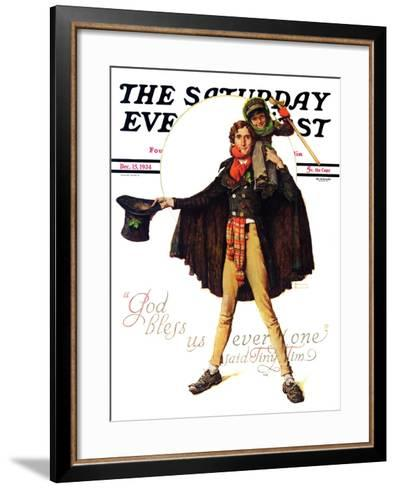 """Tiny Tim"" or ""God Bless Us Everyone"" Saturday Evening Post Cover, December 15,1934-Norman Rockwell-Framed Art Print"