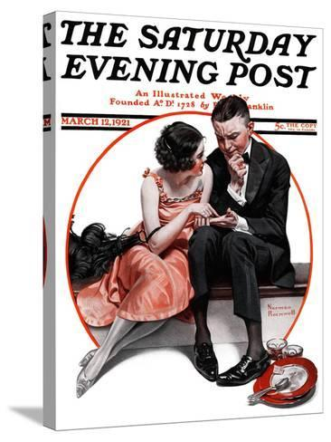 """Palm Reader"" or ""Fortuneteller"" Saturday Evening Post Cover, March 12,1921-Norman Rockwell-Stretched Canvas Print"