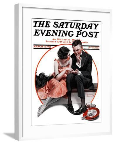 """Palm Reader"" or ""Fortuneteller"" Saturday Evening Post Cover, March 12,1921-Norman Rockwell-Framed Art Print"