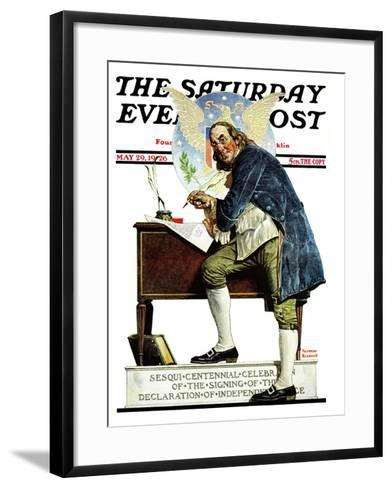 """Independence"" or ""Ben Franklin"" Saturday Evening Post Cover, May 29,1926-Norman Rockwell-Framed Art Print"