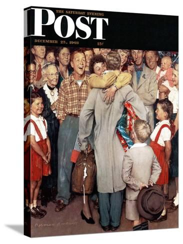 """""""Christmas Homecoming"""" Saturday Evening Post Cover, December 25,1948-Norman Rockwell-Stretched Canvas Print"""