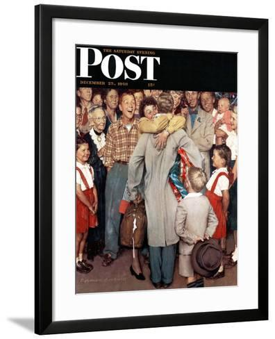 """""""Christmas Homecoming"""" Saturday Evening Post Cover, December 25,1948-Norman Rockwell-Framed Art Print"""
