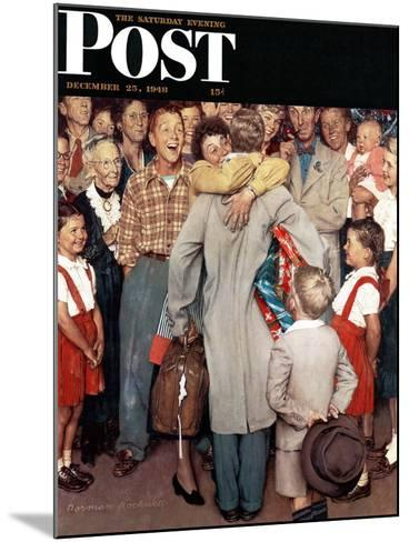 """""""Christmas Homecoming"""" Saturday Evening Post Cover, December 25,1948-Norman Rockwell-Mounted Giclee Print"""