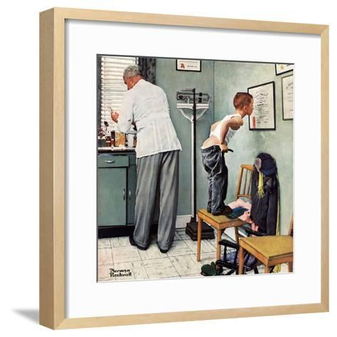 """""""Before the Shot"""" or """"At the Doctor's"""", March 15,1958-Norman Rockwell-Framed Art Print"""
