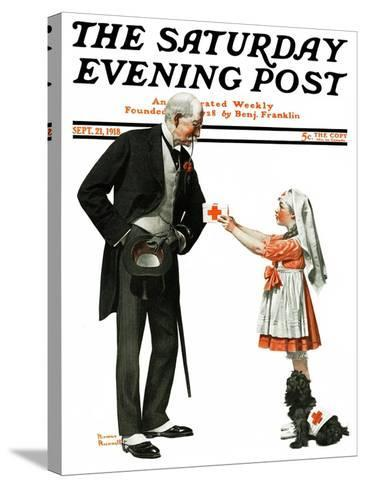 """""""Giving to Red Cross"""" Saturday Evening Post Cover, September 21,1918-Norman Rockwell-Stretched Canvas Print"""
