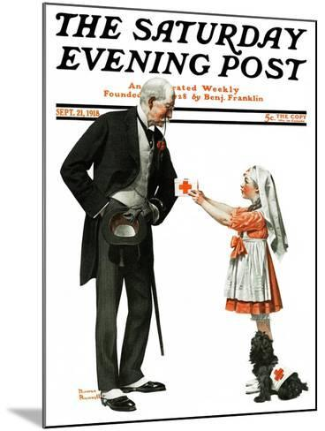 """""""Giving to Red Cross"""" Saturday Evening Post Cover, September 21,1918-Norman Rockwell-Mounted Giclee Print"""