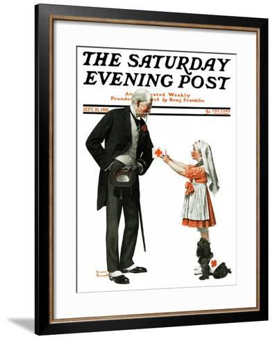 """""""Giving to Red Cross"""" Saturday Evening Post Cover, September 21,1918-Norman Rockwell-Framed Art Print"""