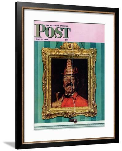 """""""No Smoking"""" Saturday Evening Post Cover, May 27,1944-Norman Rockwell-Framed Art Print"""