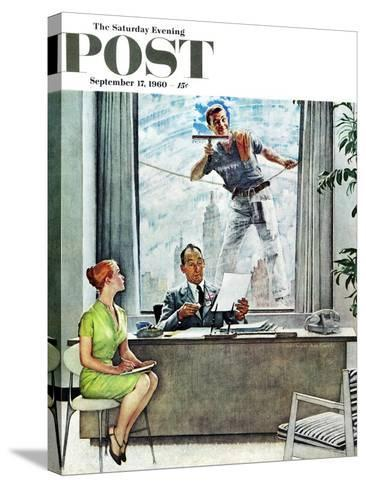 """Window Washer"" Saturday Evening Post Cover, September 17,1960-Norman Rockwell-Stretched Canvas Print"