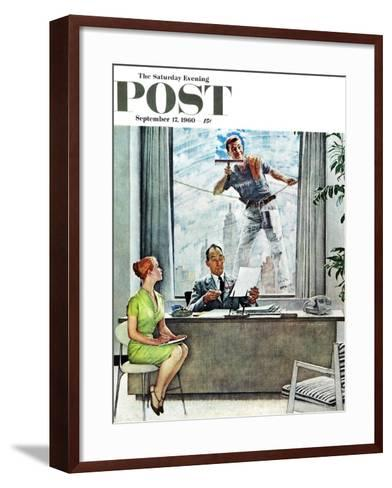 """Window Washer"" Saturday Evening Post Cover, September 17,1960-Norman Rockwell-Framed Art Print"