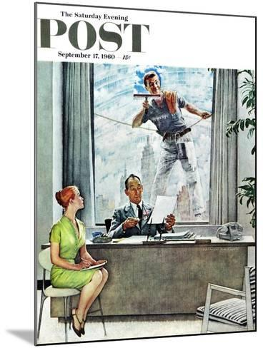 """Window Washer"" Saturday Evening Post Cover, September 17,1960-Norman Rockwell-Mounted Giclee Print"