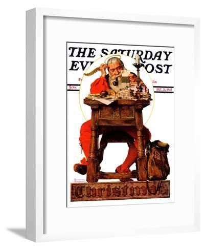 """Santa at His Desk"" Saturday Evening Post Cover, December 21,1935-Norman Rockwell-Framed Art Print"