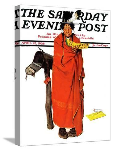 """""""See America First"""" Saturday Evening Post Cover, April 23,1938-Norman Rockwell-Stretched Canvas Print"""