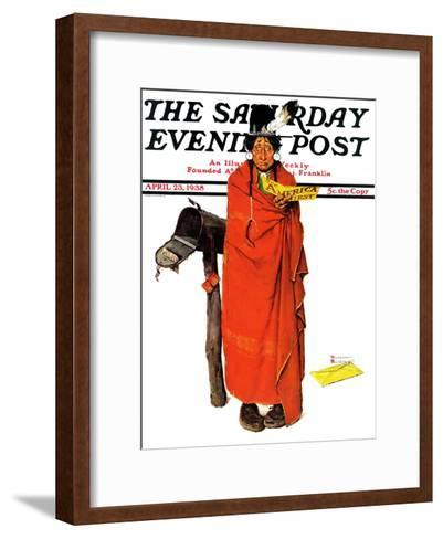 """""""See America First"""" Saturday Evening Post Cover, April 23,1938-Norman Rockwell-Framed Art Print"""
