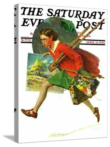 """Wet Paint"" Saturday Evening Post Cover, April 12,1930-Norman Rockwell-Stretched Canvas Print"