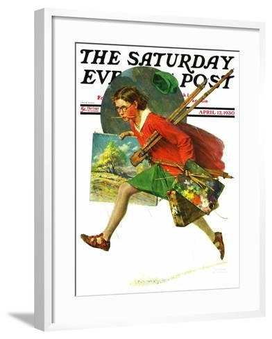 """Wet Paint"" Saturday Evening Post Cover, April 12,1930-Norman Rockwell-Framed Art Print"
