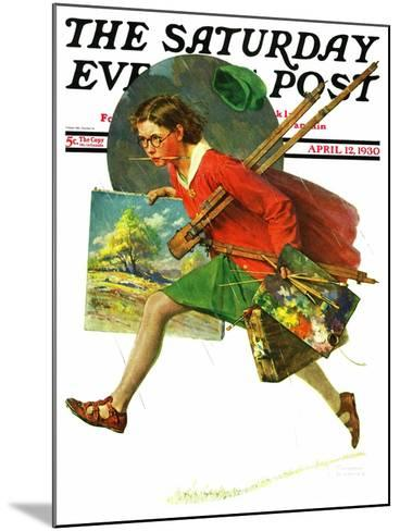 """Wet Paint"" Saturday Evening Post Cover, April 12,1930-Norman Rockwell-Mounted Giclee Print"