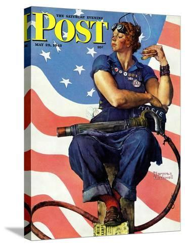 """""""Rosie the Riveter"""" Saturday Evening Post Cover, May 29,1943-Norman Rockwell-Stretched Canvas Print"""