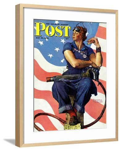 """""""Rosie the Riveter"""" Saturday Evening Post Cover, May 29,1943-Norman Rockwell-Framed Art Print"""
