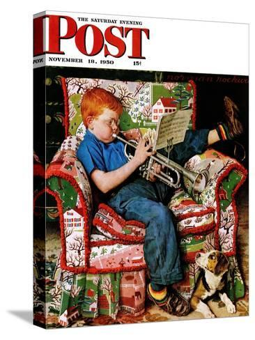 """Trumpeter"" Saturday Evening Post Cover, November 18,1950-Norman Rockwell-Stretched Canvas Print"