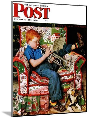 """Trumpeter"" Saturday Evening Post Cover, November 18,1950-Norman Rockwell-Mounted Giclee Print"