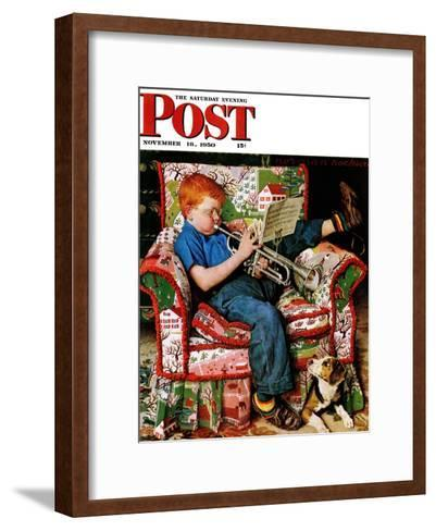"""Trumpeter"" Saturday Evening Post Cover, November 18,1950-Norman Rockwell-Framed Art Print"