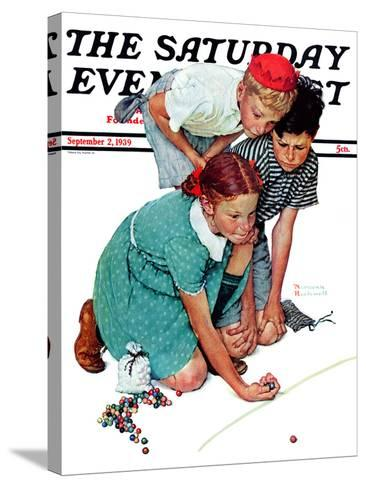 """""""Marble Champion"""" or """"Marbles Champ"""" Saturday Evening Post Cover, September 2,1939-Norman Rockwell-Stretched Canvas Print"""