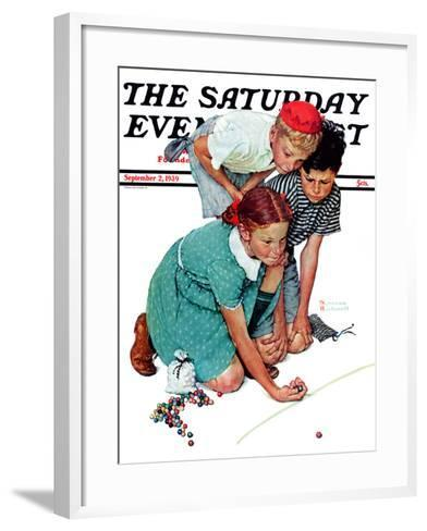 """""""Marble Champion"""" or """"Marbles Champ"""" Saturday Evening Post Cover, September 2,1939-Norman Rockwell-Framed Art Print"""