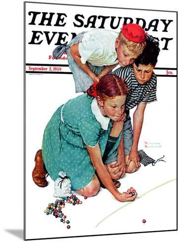 """""""Marble Champion"""" or """"Marbles Champ"""" Saturday Evening Post Cover, September 2,1939-Norman Rockwell-Mounted Giclee Print"""