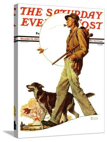 """""""Autumn Stroll"""" Saturday Evening Post Cover, November 16,1935-Norman Rockwell-Stretched Canvas Print"""