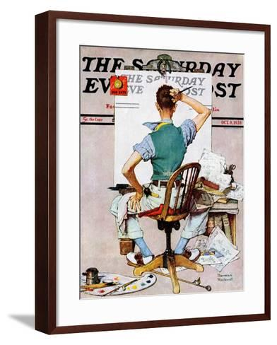 """""""Blank Canvas"""" Saturday Evening Post Cover, October 8,1938-Norman Rockwell-Framed Art Print"""