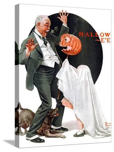 """""""Halloween"""", October 23,1920-Norman Rockwell-Stretched Canvas Print"""