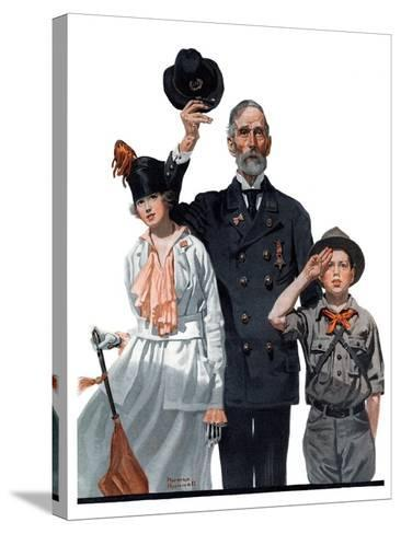 """""""Salute to Colors"""", May 12,1917-Norman Rockwell-Stretched Canvas Print"""