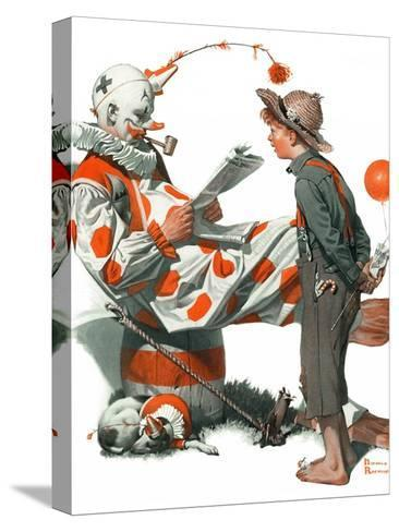 """""""Circus"""" or """"Meeting the Clown"""", May 18,1918-Norman Rockwell-Stretched Canvas Print"""