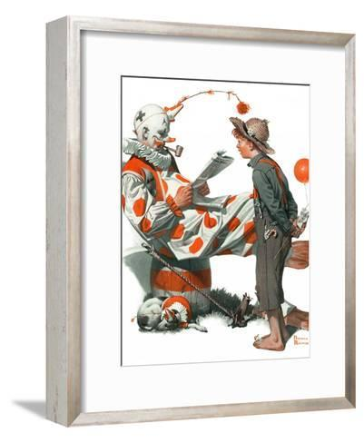 """""""Circus"""" or """"Meeting the Clown"""", May 18,1918-Norman Rockwell-Framed Art Print"""