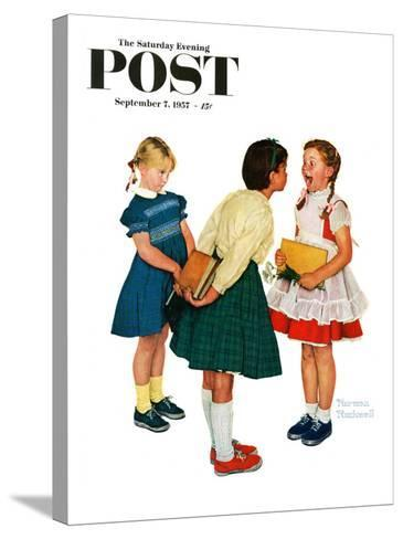 """""""Missing tooth"""" Saturday Evening Post Cover, September 7,1957-Norman Rockwell-Stretched Canvas Print"""