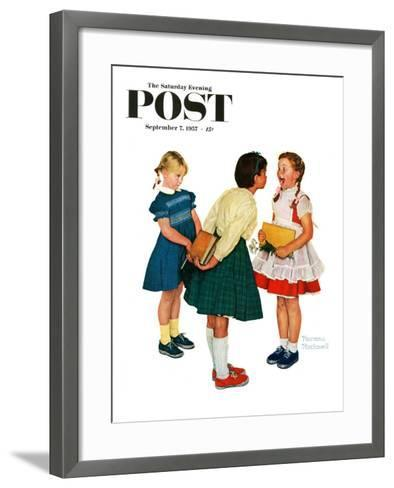 """""""Missing tooth"""" Saturday Evening Post Cover, September 7,1957-Norman Rockwell-Framed Art Print"""