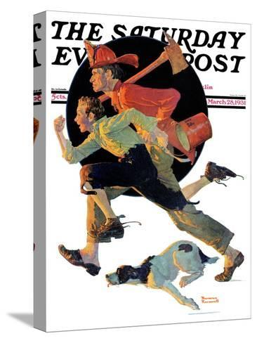 """""""To the Rescue"""" Saturday Evening Post Cover, March 28,1931-Norman Rockwell-Stretched Canvas Print"""