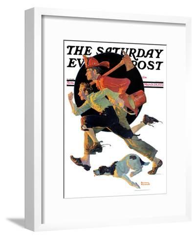 """""""To the Rescue"""" Saturday Evening Post Cover, March 28,1931-Norman Rockwell-Framed Art Print"""