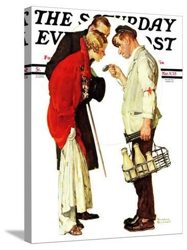 """""""Partygoers"""" Saturday Evening Post Cover, March 9,1935-Norman Rockwell-Stretched Canvas Print"""