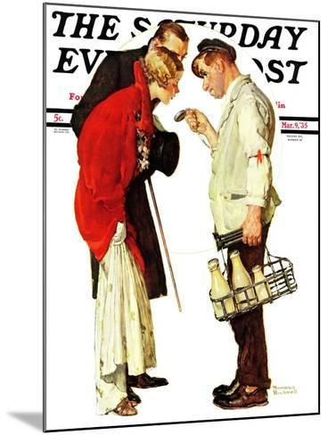 """""""Partygoers"""" Saturday Evening Post Cover, March 9,1935-Norman Rockwell-Mounted Giclee Print"""